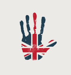 imprint a human hand in colors uk flag vector image