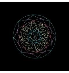 Indian geometric mandala black background vector image