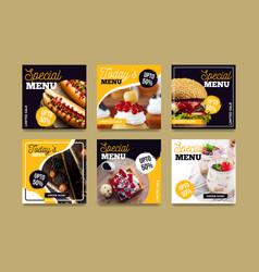Instagram food collection vector