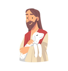 Jesus christ holding lamb with his arm as vector