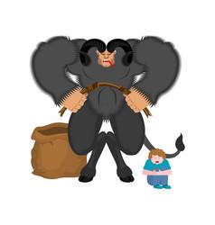 krampus and children anti santa claus for bad vector image