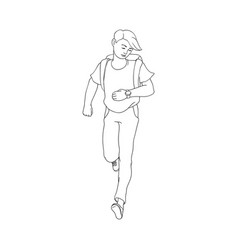 late young man girl hurrying up vector image