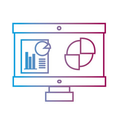 line computer with company document and statistics vector image