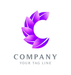 logo letter c is leaf shaped in green vector image