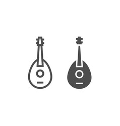 Mandolin line and glyph icon musical and string vector