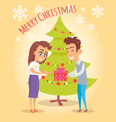 Merry christmas poster husband give present wife vector