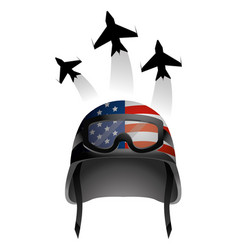 Military helmet and airplane vector