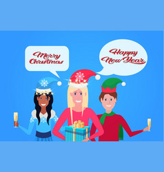 mix race people wearing hat holding champagne chat vector image