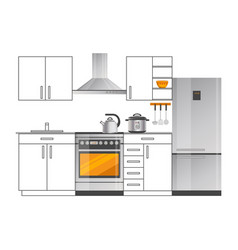 Modern electric appliances in kitchen interior vector