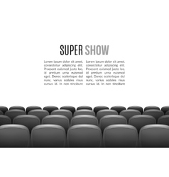 Movie theater with row gray seats premiere vector