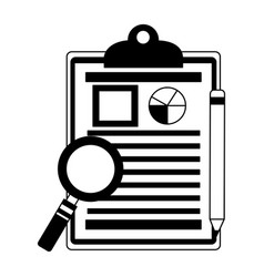 office clipboard report magnifying glass and vector image