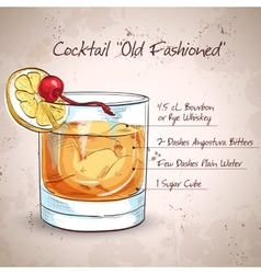 Old fashioned cocktail vector