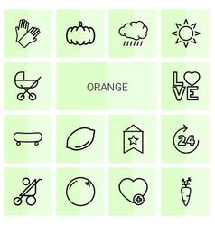 orange icons vector image