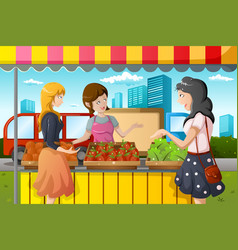 People shopping in farmers market vector