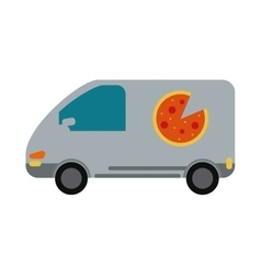 Pizza delivery car van service vector