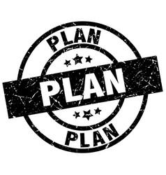 Plan round grunge black stamp vector