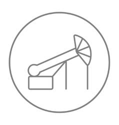 Pump jack oil crane line icon vector image