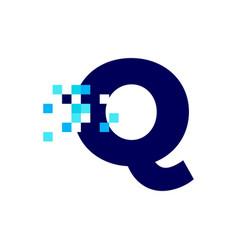 Q letter pixel mark digital 8 bit logo icon vector