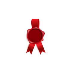 red candle wax seal or guarantee certification vector image