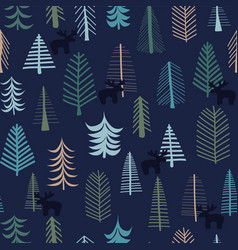 reindeer and trees christmas seamless pattern vector image