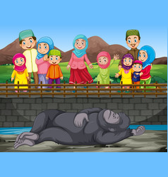 scene with people visiting zoo vector image
