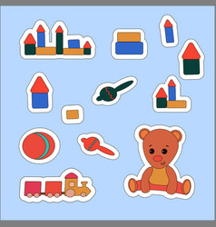 set sticker teddy bear and toys vector image