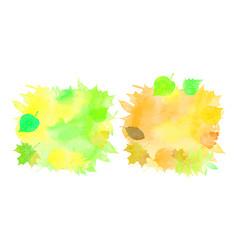 Set watercolor backgrounds autumn leaves vector