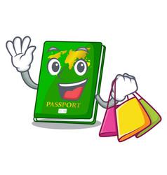 Shopping green passport in the cartoon shape vector