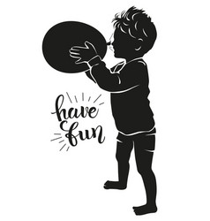 Silhouette happy child with balloon blowing vector