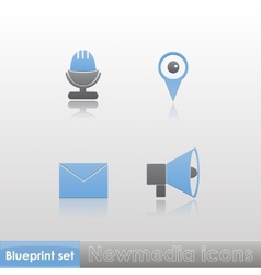 Simple blue-grey new media microphone gps message vector image