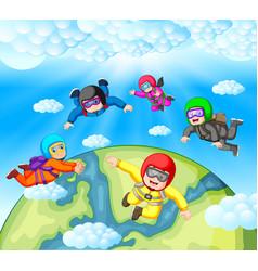 Skydiving team work vector