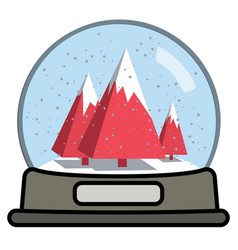 snow globe with three christmas trees vector image