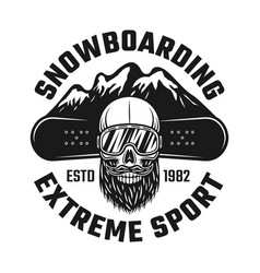 snowboarding emblem with skull and mountains vector image