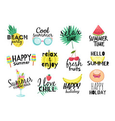 summer labels beach vacation travel vector image
