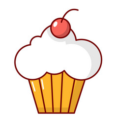 sweet cupcake icon cartoon style vector image