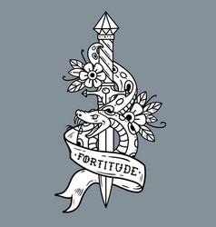 Tattoo dagger snake ribbon lettering fortitude vector