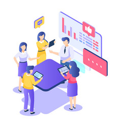 teamwork isometric concept startup creativity vector image