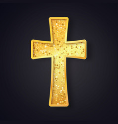 textured gold catholic cross isolated object vector image