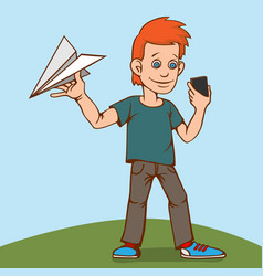 The child was playing with a paper airplane but vector