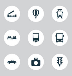 Transport icons set with monorail no overtaking vector
