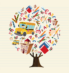 Tree of kids school icons for education concept vector