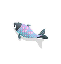 Tropic fish top view koi fish colorful clip art vector