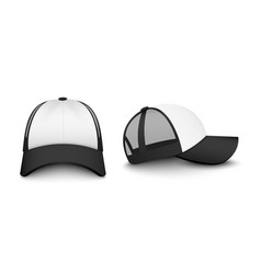 Trucker white cap realistic mockup front and side vector