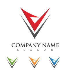 V leter logo template vector