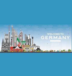 Welcome to germany skyline with gray buildings vector