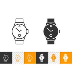Wristwatch simple black line timer icon vector
