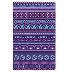 Ethnic various strips motifs in violet colors vector image