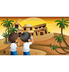 Kids taking photos vector image vector image