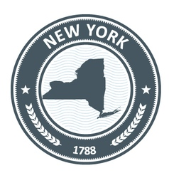New York stamp with state map silhouette vector image