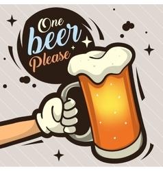 One Beer Please Hand Drawn Artistic Cartoon vector image